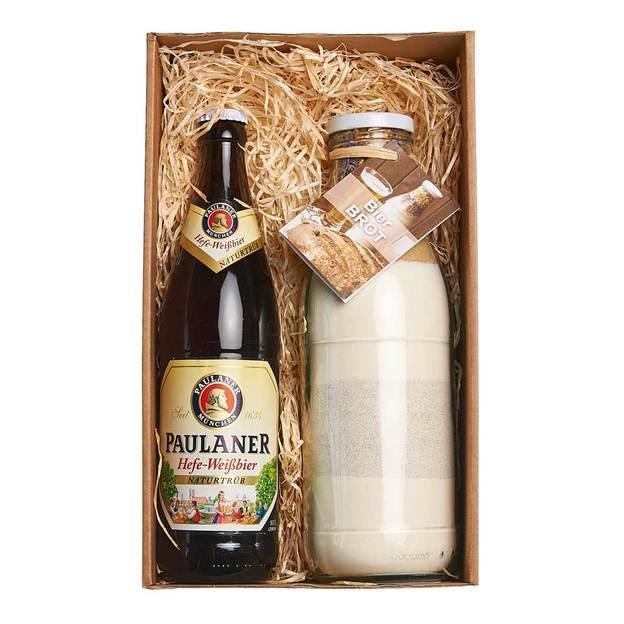 Set cadeau pain à la bière avec 1 bière blanche Paulaner