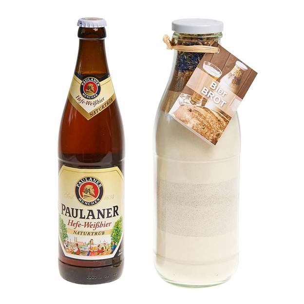 Geschenkset Bierbrot Backmischung im Weckglas mit Bier