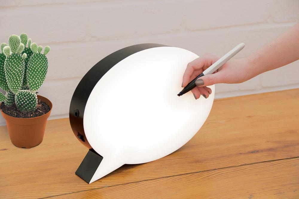 leuchttafel sprechblase zum beschriften. Black Bedroom Furniture Sets. Home Design Ideas