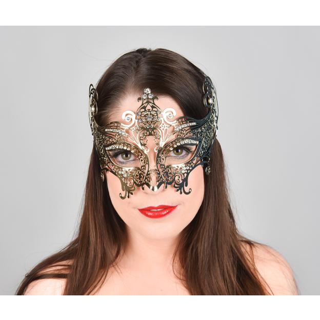 Masque vénitien en métal doré