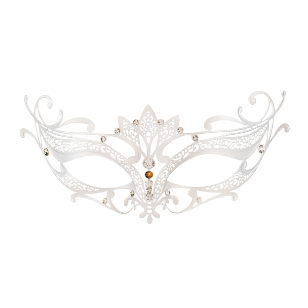 Masque vénitien en métal blanc