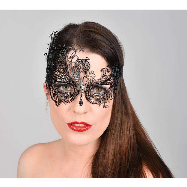 Venezianische Maske aus Metall Schwarz
