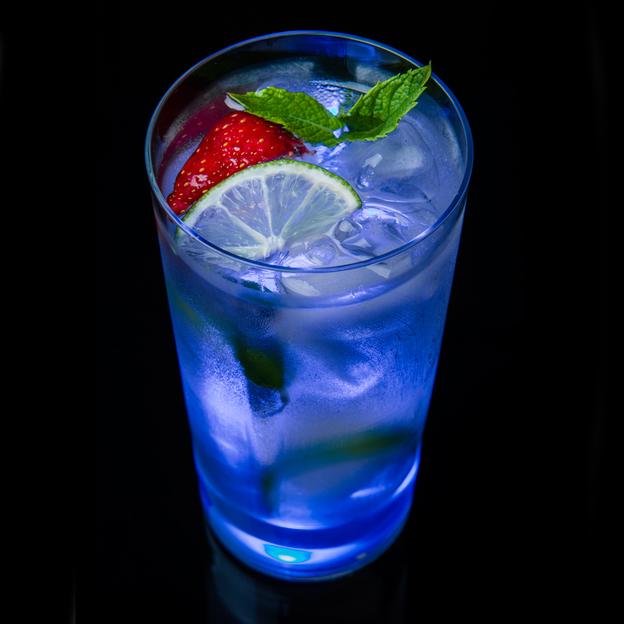 Trinkglas TouchON! mit LED Beleuchtung Blau