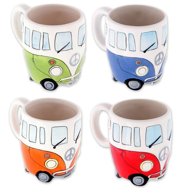 Tasses insolites Bus Camping-Car Peace and Love (set de 4)