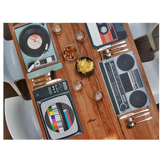 Tischset Nostalgie Hifi-Geräte Retro-Style 4-teilig