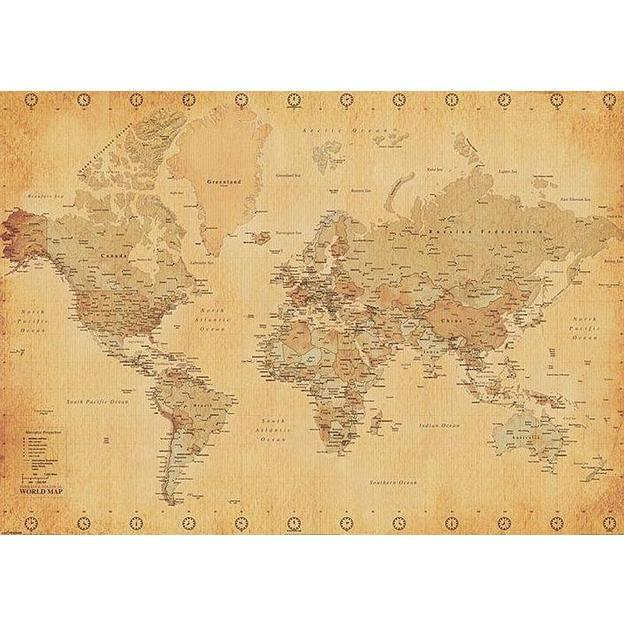 Weltkarte XXL Poster (World Map Vintage Style)