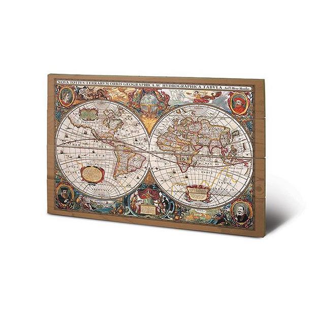 Weltkarte 17. Jahrhundert Wooden Wall Art