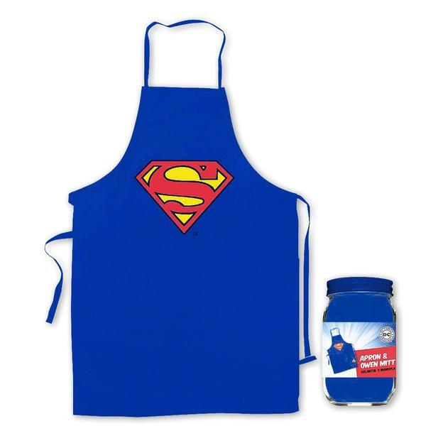 Superman Grillschürze und Ofenhandschuh Logo