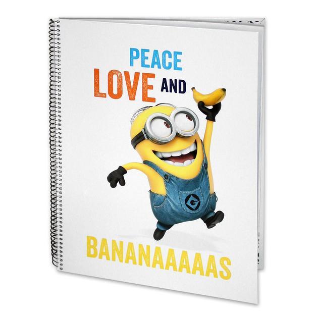 Minions bloc-notes A4 Peace, love and bananaaaaaas