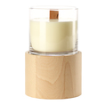 Kerze mit Holzdocht im Glas inkl. Holzaufsatz