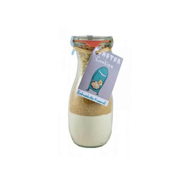 Monster-Cookies Backmischung Erdnussbutter-Karamell im Weckglas