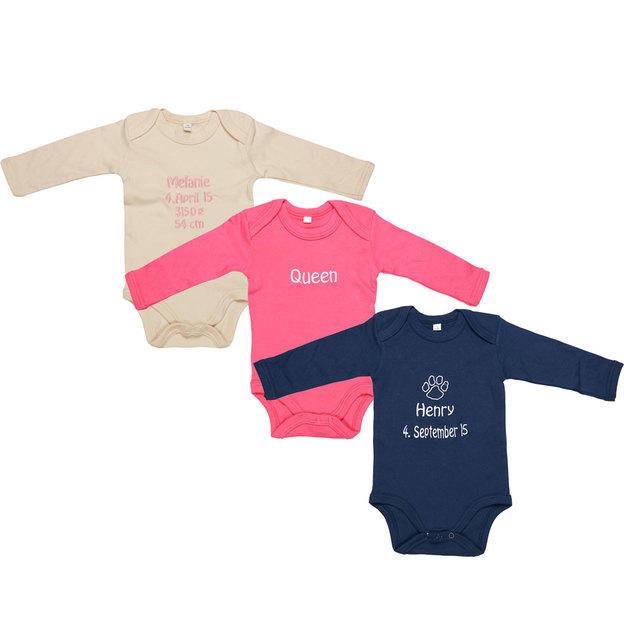 Body pour bébé personnalisé avec dessin et texte brodés