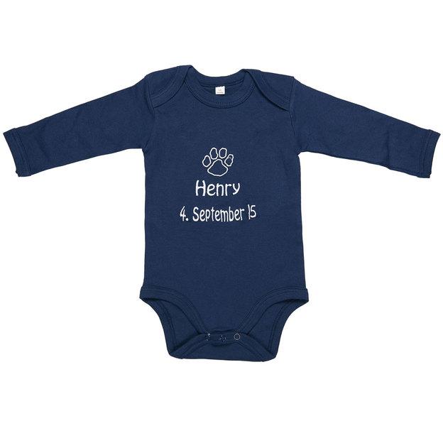 Personalisierbarer Babystrampler mit Symbol blau