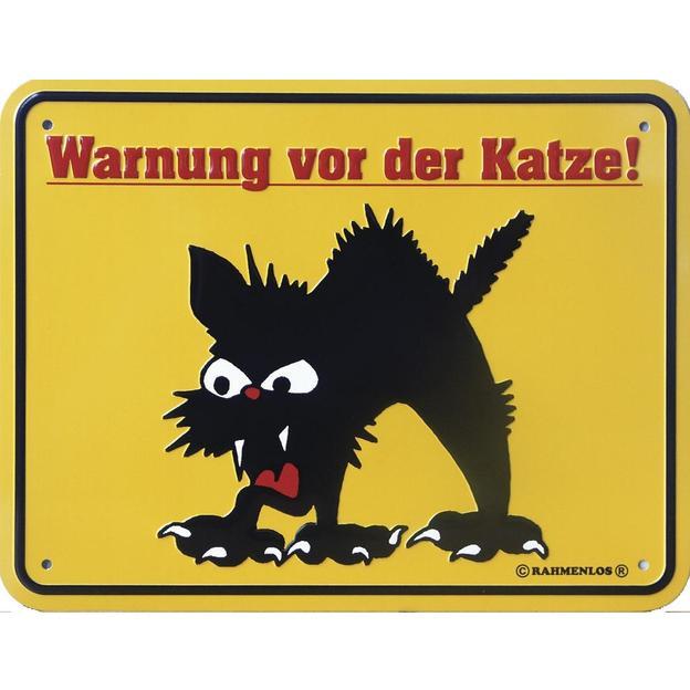 Katzen Blechschild Warnung vor der Katze