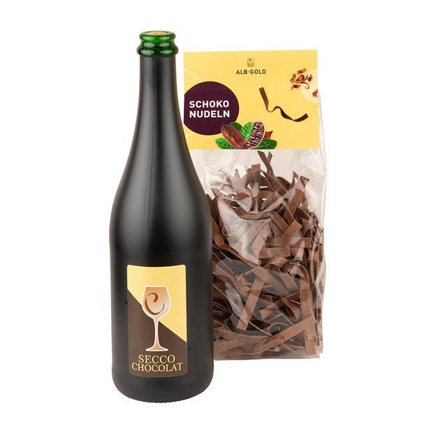 Geschenkset Dessert de Chocolat mit Schoko-Secco und Schoko-Nudeln