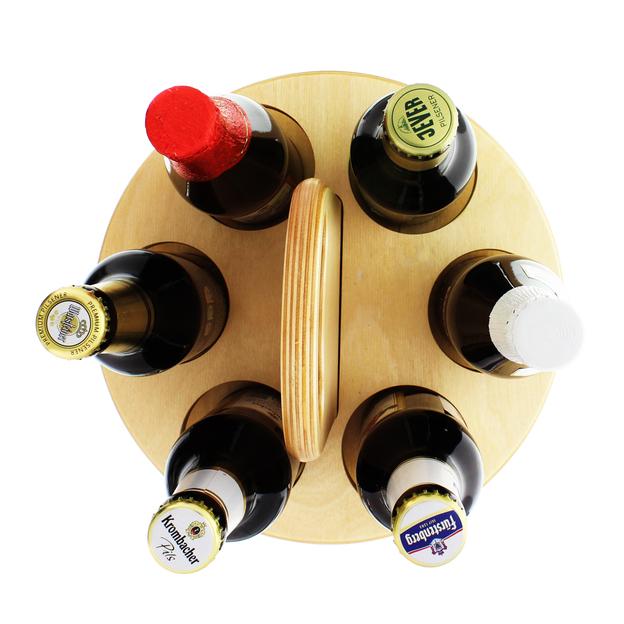 Personalisierbarer Holz-Bierträger für 6 Biere
