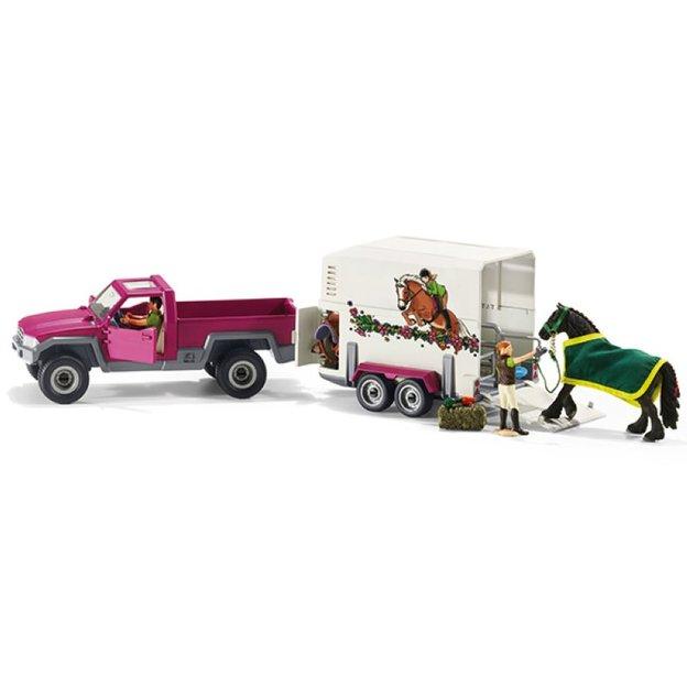 Pick-up avec remorque et cheval de Schleich