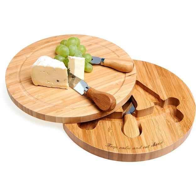 Personalisierbares Käsebrett aus Bambus mit Besteck