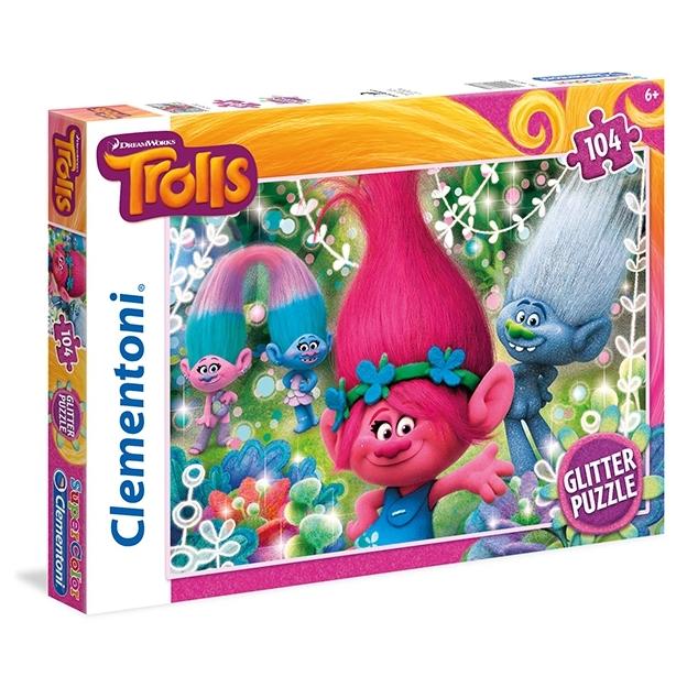 Puzzle Glitter Trolls 104-teilig