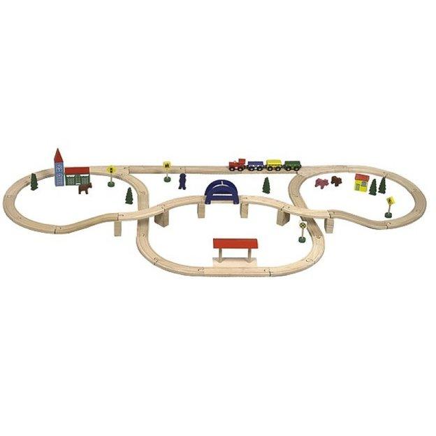 Eisenbahnset aus Holz 70-teilig