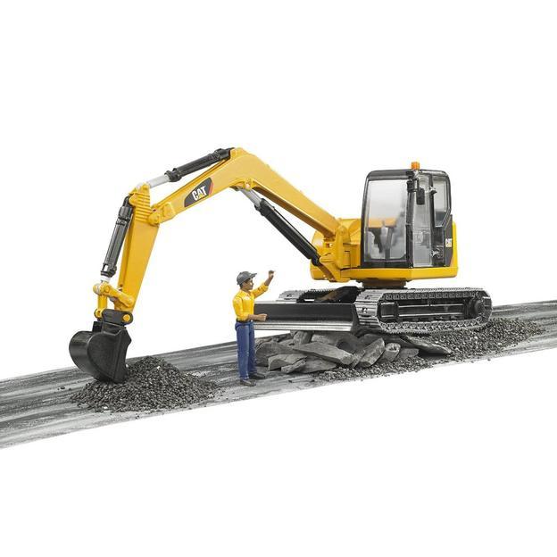 Cat Minibagger mit Bauarbeiter