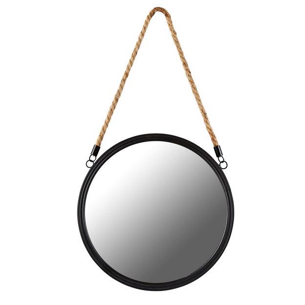 Runder Spiegel Metall schwarz