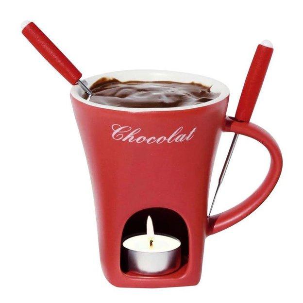 Nouvel Schokoladenfondue-Set 3-teilig, Tasse rot, 1 Foduegabel
