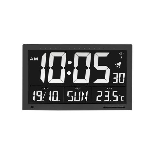 Funk Wanduhr XXL Digital black mit großer Anzeige und invertiertem Display