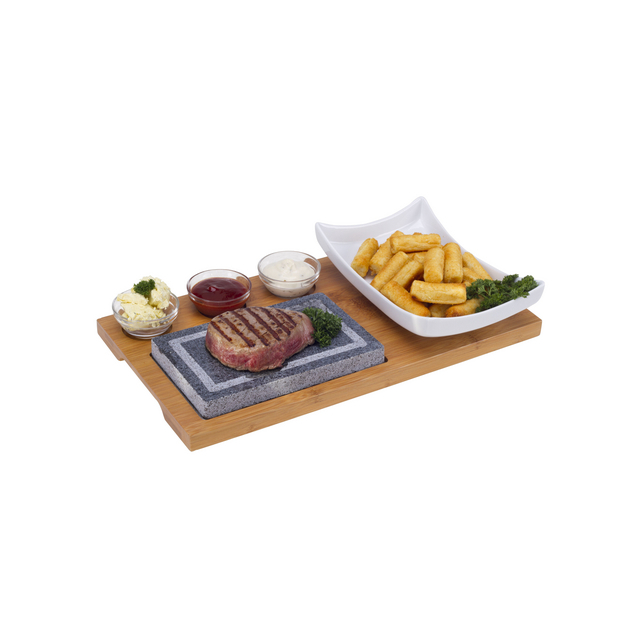 Nouvel Hot Plate Set, 6tlg, Holz Holzbrett, Hot Stone, 1 weisse Glassschale
