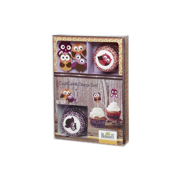 Caissettes et déco Hiboux pour Cupcakes 36 pcs