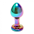 Analplug Sensual Glass Melany Regenbogen Metallic