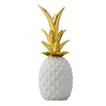 Deko Ananas aus Keramik weiss/gold