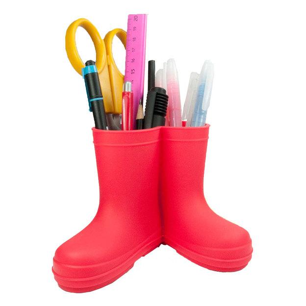Pot à crayons bottes en caoutchouc