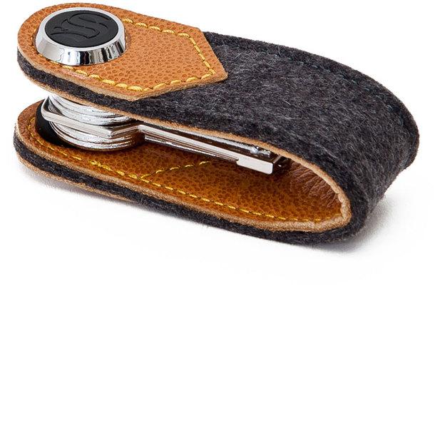 Porte-clés S-Key feutre cuir marron