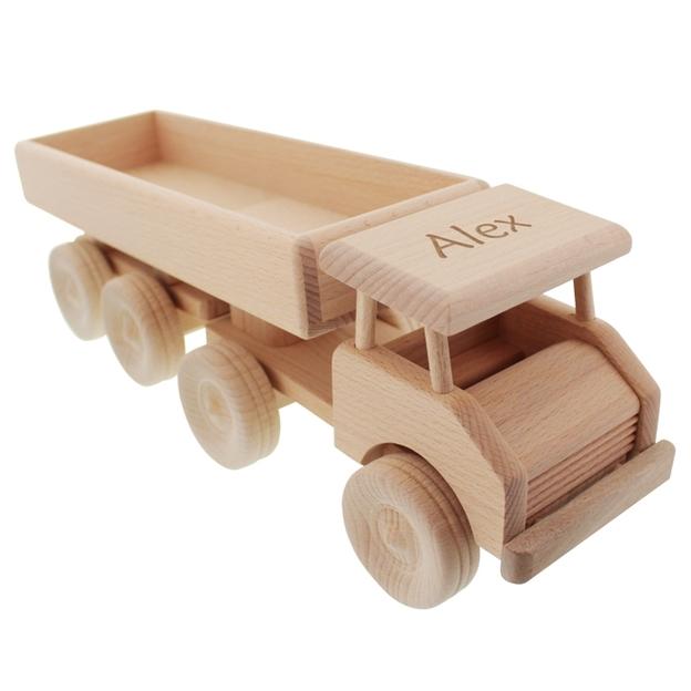 Semi-remorque en bois personnalisable par gravure
