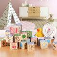 Holzwürfel-Set 28-teilig für Kinder mit verschiedenen Motiven