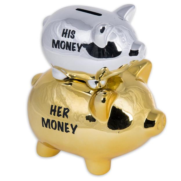 His Money & Her Money Spardose Double Piggy