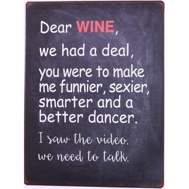 Blechschild Dear wine