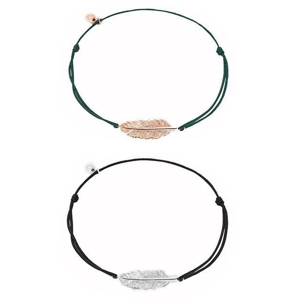 Bracelet en tissu avec plume