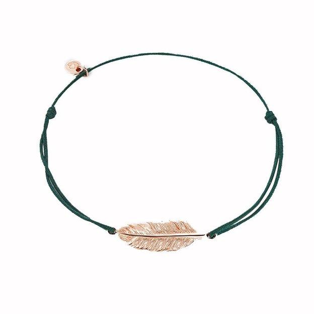 Bracelet en tissu vert avec plume couleur or rosé