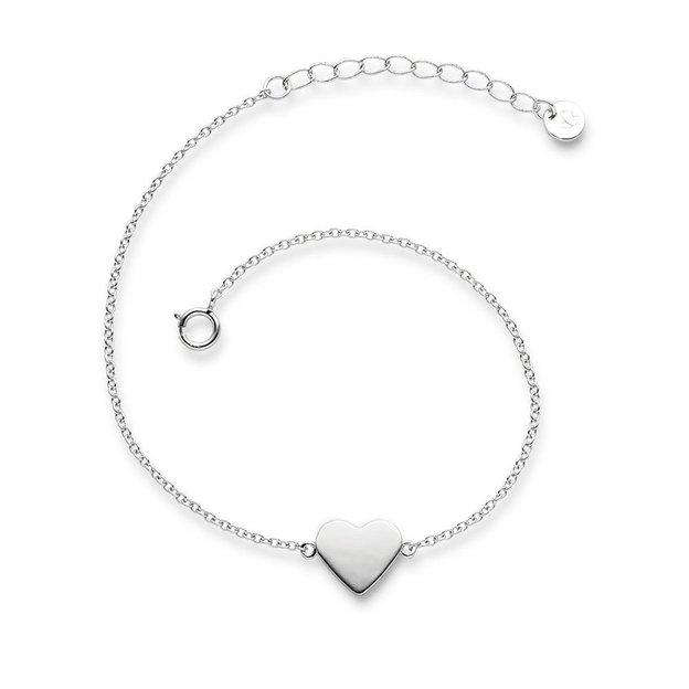 Bracelet Coeur en argent sterling, couleur argent