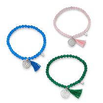 Bracelets Chakra pendentif argent et perles de gemme