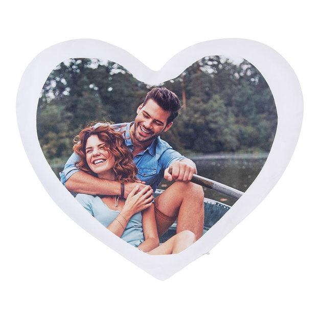 Coussin photo personnalisé en forme de cœur