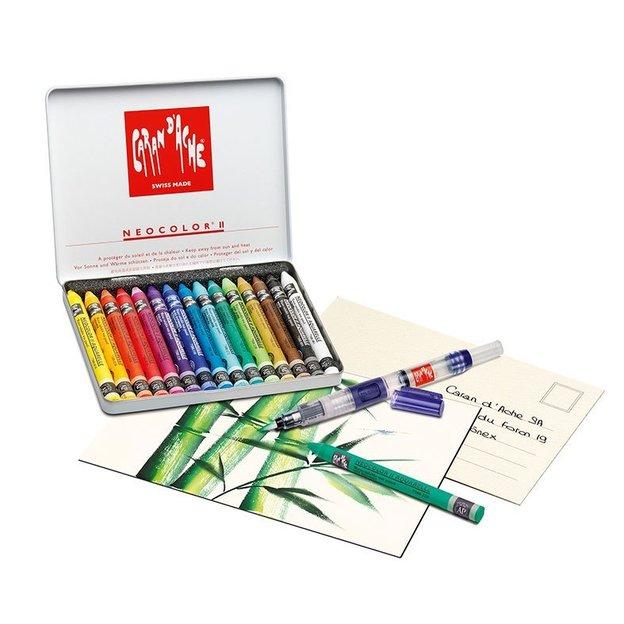 Creative Box Neocolor von Caran d'Ache zu 15 Farben inkl. Karten + Pinsel