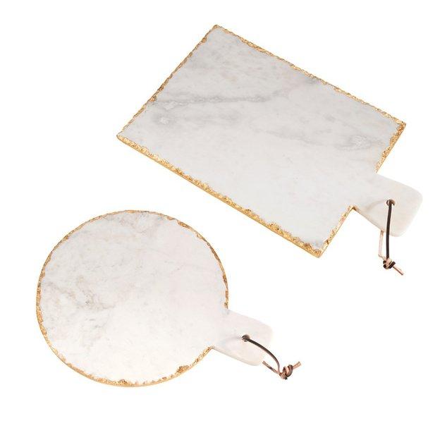 Servierplatte Carrara aus Marmor mit Goldrand