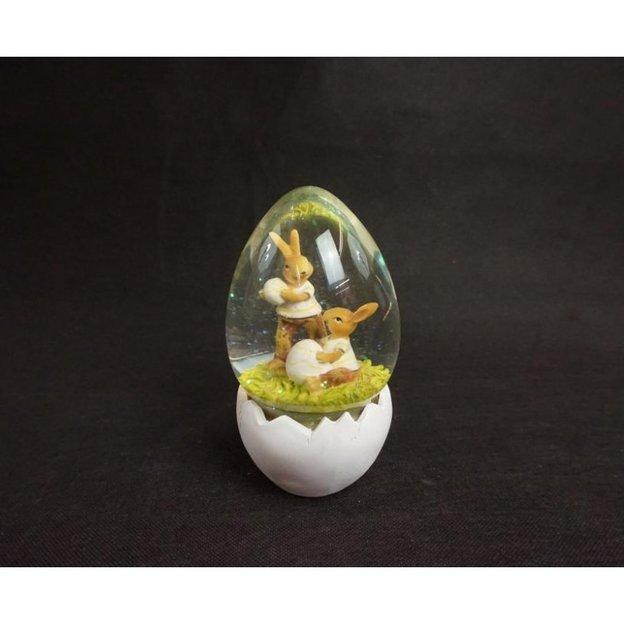 Schneekugel Hasenpaar im Ei