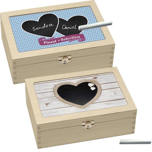 Teebox Herzen zum selber beschriften