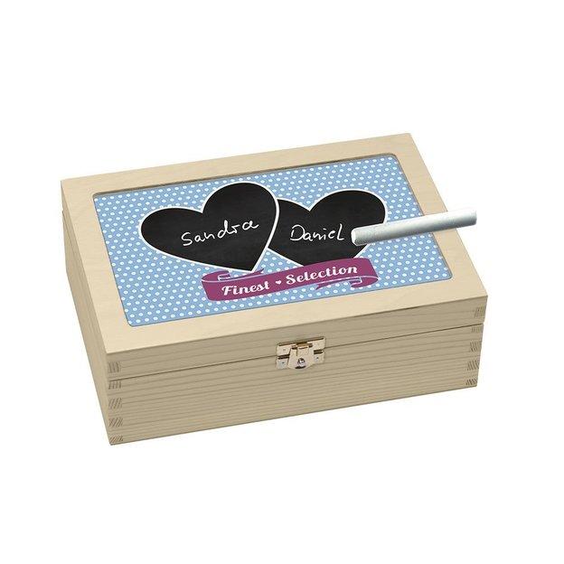 Teebox-Kreide mit zwei Herzen
