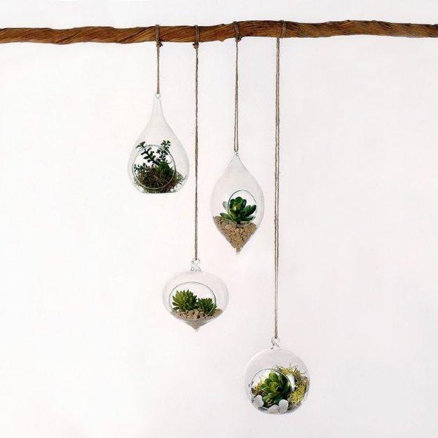 Mini-vases bulbes en verre à suspendre, set de 4