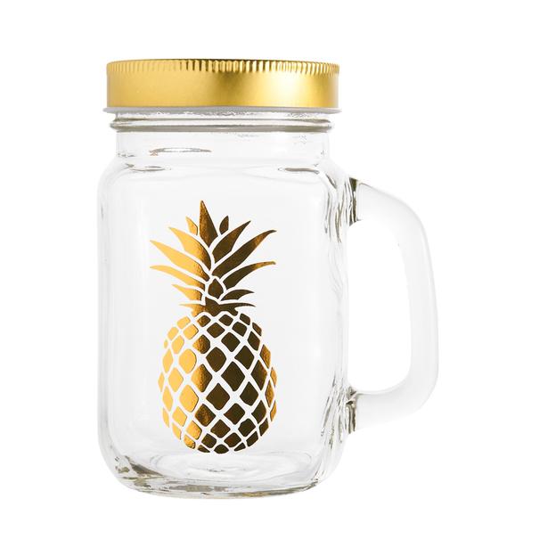 4 verres Ananas dorés avec paille et couvercle